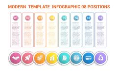Linia czasu nowożytny szablon infographic dla biznesu 8 kroków, proca Fotografia Royalty Free