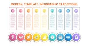 Linia czasu nowożytny szablon infographic dla biznesu 9 kroków, proca Fotografia Royalty Free