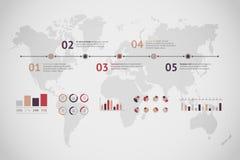 Linia czasu wektor infographic mapa ilustracyjny stary świat Obrazy Royalty Free