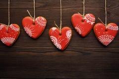 Linia czerwoni miodowników serca na faborku Obraz Stock
