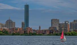 Linia horyzontu Boston od rzeki obrazy stock