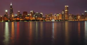 linia horyzontu chicago zmierzchu Zdjęcia Stock