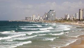 Linia horyzontu i plaże południowy Tel Aviv, Izrael Obraz Stock