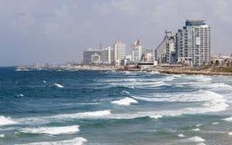 Linia horyzontu i plaże południowy Tel Aviv, Izrael Zdjęcie Stock