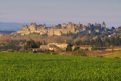Linia horyzontu kasztel Carcassonne, Francja Fotografia Royalty Free