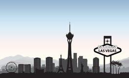 linia horyzontu las Vegas Podróży miasta punktu zwrotnego amerykański tło Urb royalty ilustracja