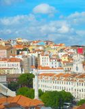 Linia horyzontu Lisbon Stary Grodzki Rossio zdjęcie stock
