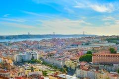 Linia horyzontu Lisbon stary miasteczko obrazy stock