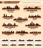 Linia horyzontu miasta set. USA 10 miast -4 royalty ilustracja
