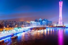 Linia horyzontu miasto przy nocą Zdjęcia Royalty Free