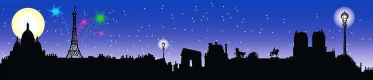 linia horyzontu nocy Paryża Fotografia Stock
