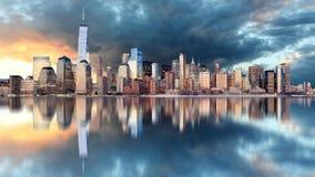 linia horyzontu nowego Jorku wschód słońca Zdjęcie Stock