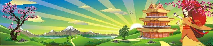 Linia horyzontu - panorama Wschód słońca nad Japonia ilustracja wektor