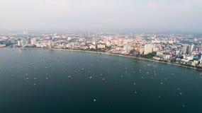 Linia horyzontu Pattaya od widok z lotu ptaka, Pattaya miasto, Chonburi Fotografia Stock
