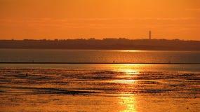 linia horyzontu plażowy przemysłowy zmierzch Obraz Stock