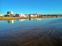 linia horyzontu plaża Agadir w Maroko, Afryka Obraz Royalty Free