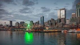 Linia horyzontu Seattle w wieczór Zdjęcie Royalty Free
