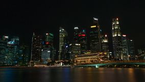 Linia horyzontu Singapur przy nocą Obraz Royalty Free