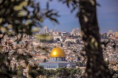 Linia horyzontu Stary miasto przy Zachodni? ?cian? ?wi?tynn? g?r? w Jerozolima i, Izrael obrazy stock