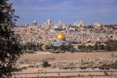 Linia horyzontu Stary miasto przy Zachodni? ?cian? ?wi?tynn? g?r? w Jerozolima i, Izrael obraz stock