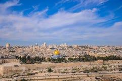 Linia horyzontu Stary miasto przy Zachodni? ?cian? ?wi?tynn? g?r? w Jerozolima i, Izrael zdjęcie stock