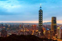 Linia horyzontu Taipei pejzażu miejskiego Taipei 101 budynek Taipei pieniężny miasto, Tajwan zdjęcia royalty free