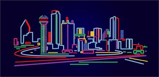 linia horyzontu Texasu dallas ilustracji