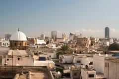 Linia horyzontu Tunis przy świtem Obrazy Stock