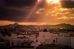 Linia horyzontu Tunis przy świtem Zdjęcie Stock