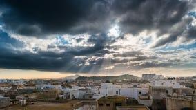 Linia horyzontu Tunis przy świtem Obraz Royalty Free