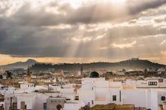 Linia horyzontu Tunis przy świtem Obraz Stock