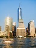 Linia horyzontu w centrum Nowy Jork przy zmierzchem Zdjęcie Stock
