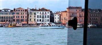 Linia horyzontu Wenecja nabrzeże, Włochy od wodnego taxi okno Obraz Stock