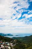 Linia horyzontu widok od Jiufen starej ulicy, Tajwan Zdjęcie Stock