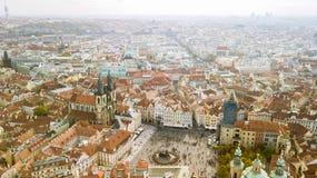 Linia horyzontu widoku panorama Stary miasteczko w Praga cesky krumlov republiki czech miasta średniowieczny stary widok obrazy stock