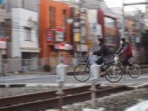 Linia kolejowa bicykle i skrzyżowanie obrazy royalty free