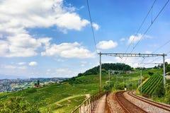 Linia kolejowa blisko Lavaux winnicy Tarasuje Szwajcaria Fotografia Royalty Free