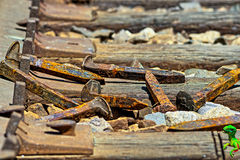 Linia kolejowa gwoździ kłaść na ziemi w stosie z Dino obraz stock
