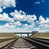 Linia kolejowa horyzont w niebieskim niebie z chmurami fotografia royalty free