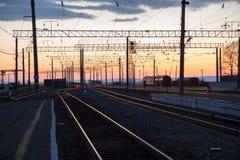 Linia kolejowa krajobraz Zdjęcia Royalty Free