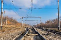 Linia kolejowa krajobraz przy sezonem jesiennym Obrazy Royalty Free