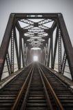 Linia kolejowa kratownicowy most obraz royalty free