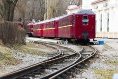 Linia kolejowa mały pociąg Zdjęcia Royalty Free