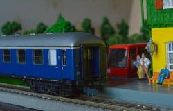 Linia kolejowa model, stacja Zdjęcia Royalty Free