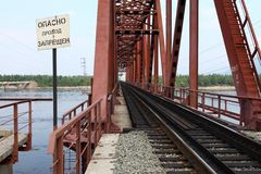 Linia kolejowa most w Siberia Fotografia Royalty Free
