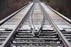 Linia kolejowa mosta powierzchnia w zimie Obrazy Stock