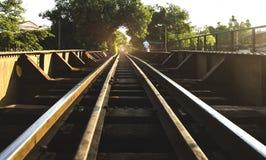 Linia kolejowa na stalowym moscie Obraz Royalty Free