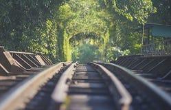 Linia kolejowa na stalowym moscie Obraz Stock