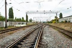 Linia kolejowa pociąg Fotografia Royalty Free