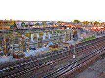 Linia kolejowa pociągi, Berliński Niemcy Zdjęcie Royalty Free